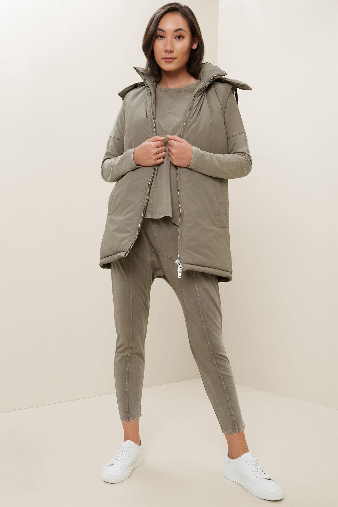 Longline Hooded Vest  OLIVE KHAKI  hi-res