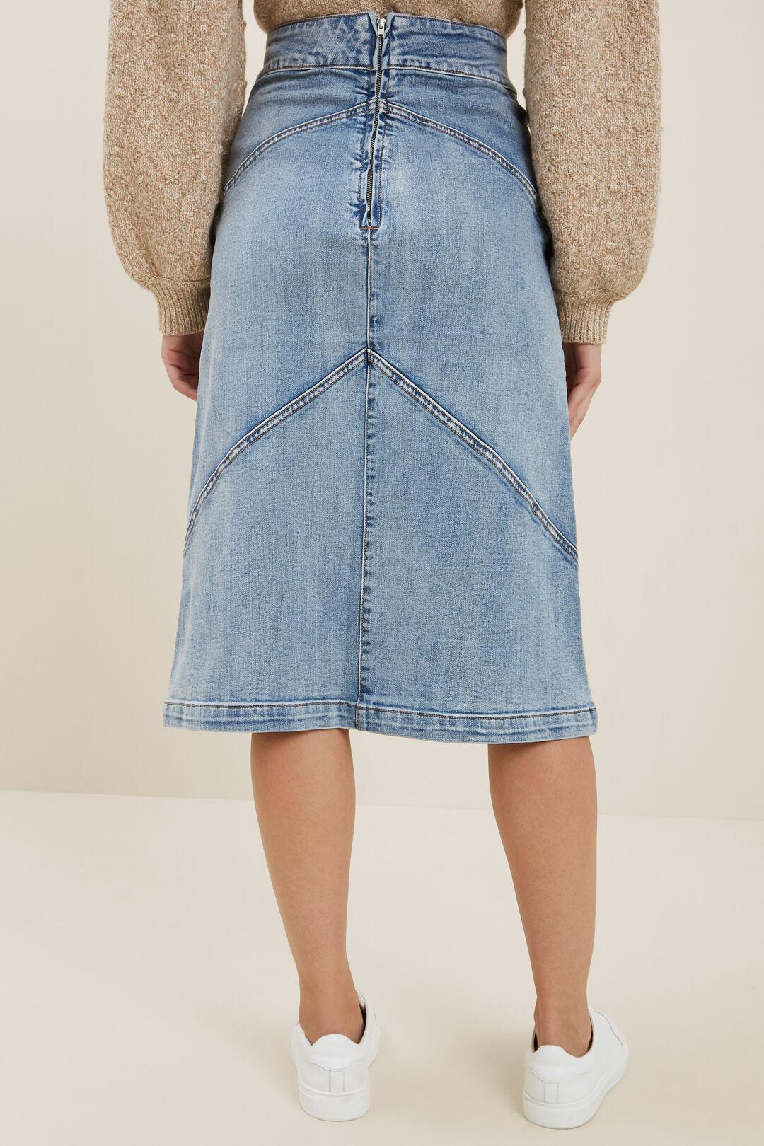 Denim Panel Skirt  MID VINTAGE WASH  hi-res