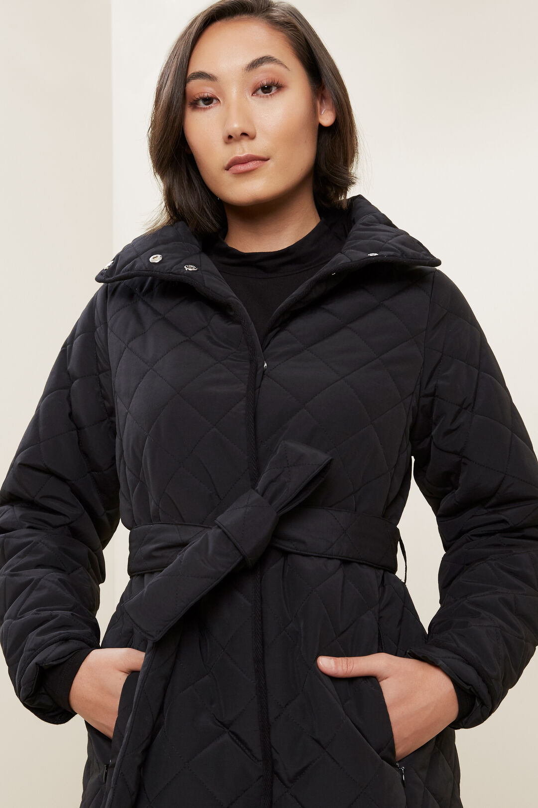 Longline Quilted Puffer Jacket  BLACK  hi-res