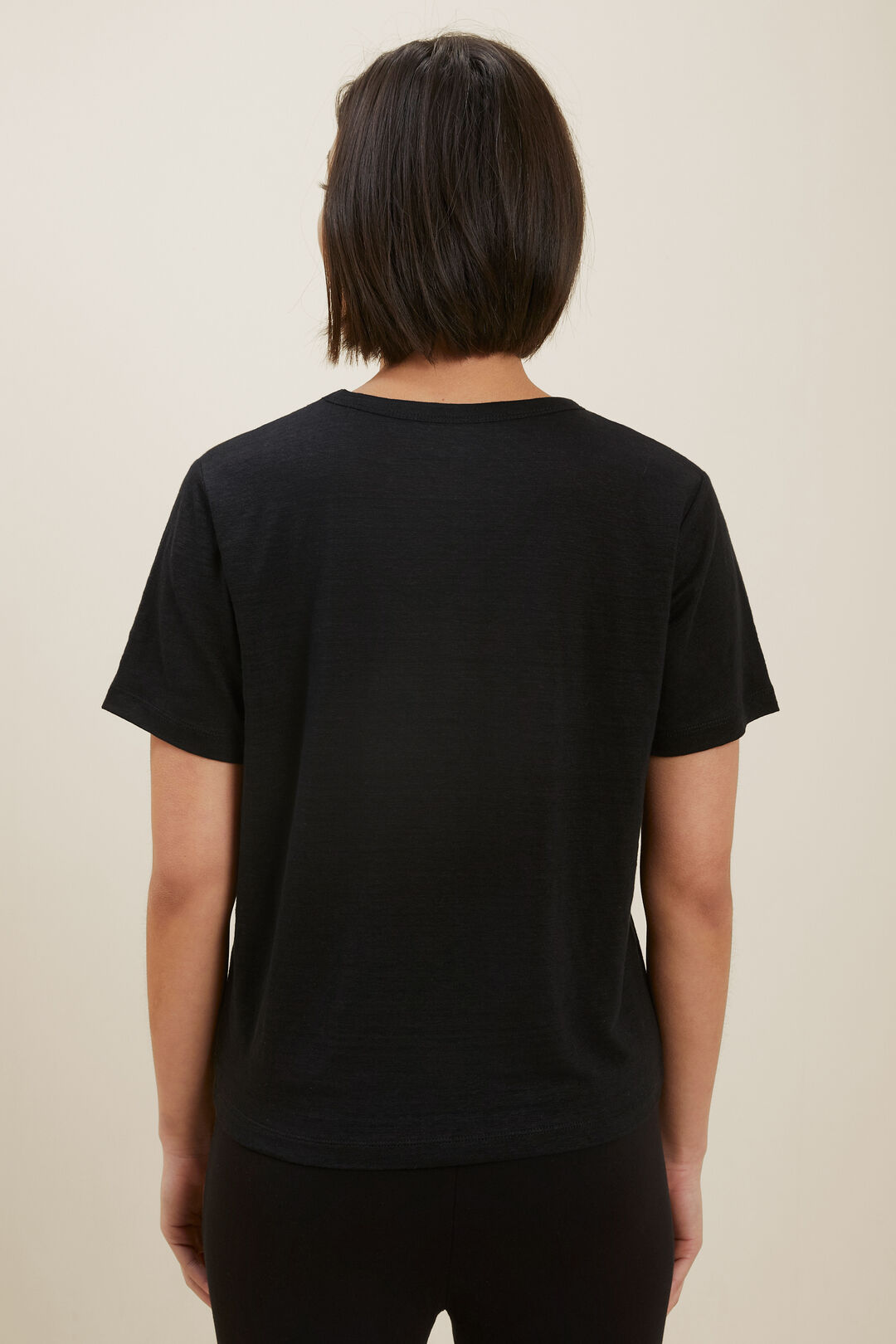 Linen Boxy Tee  BLACK  hi-res