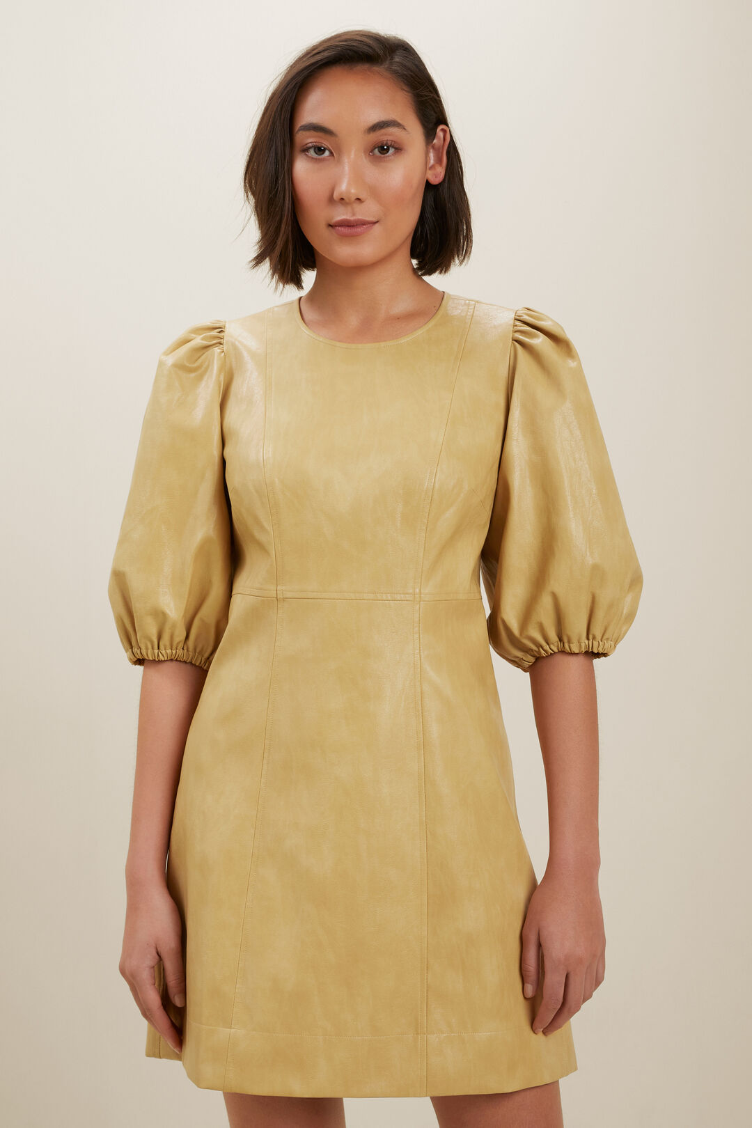 Vegan Leather Puff Sleeve Mini Dress  FAWN  hi-res