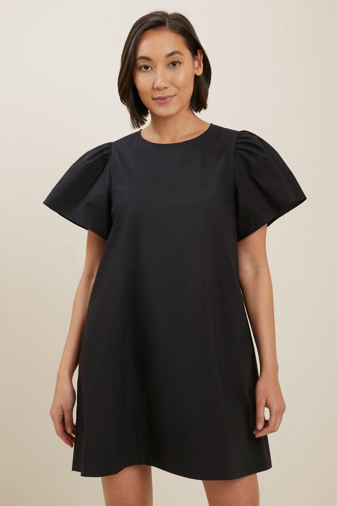 Poplin Flutter Sleeve Dress  BLACK  hi-res