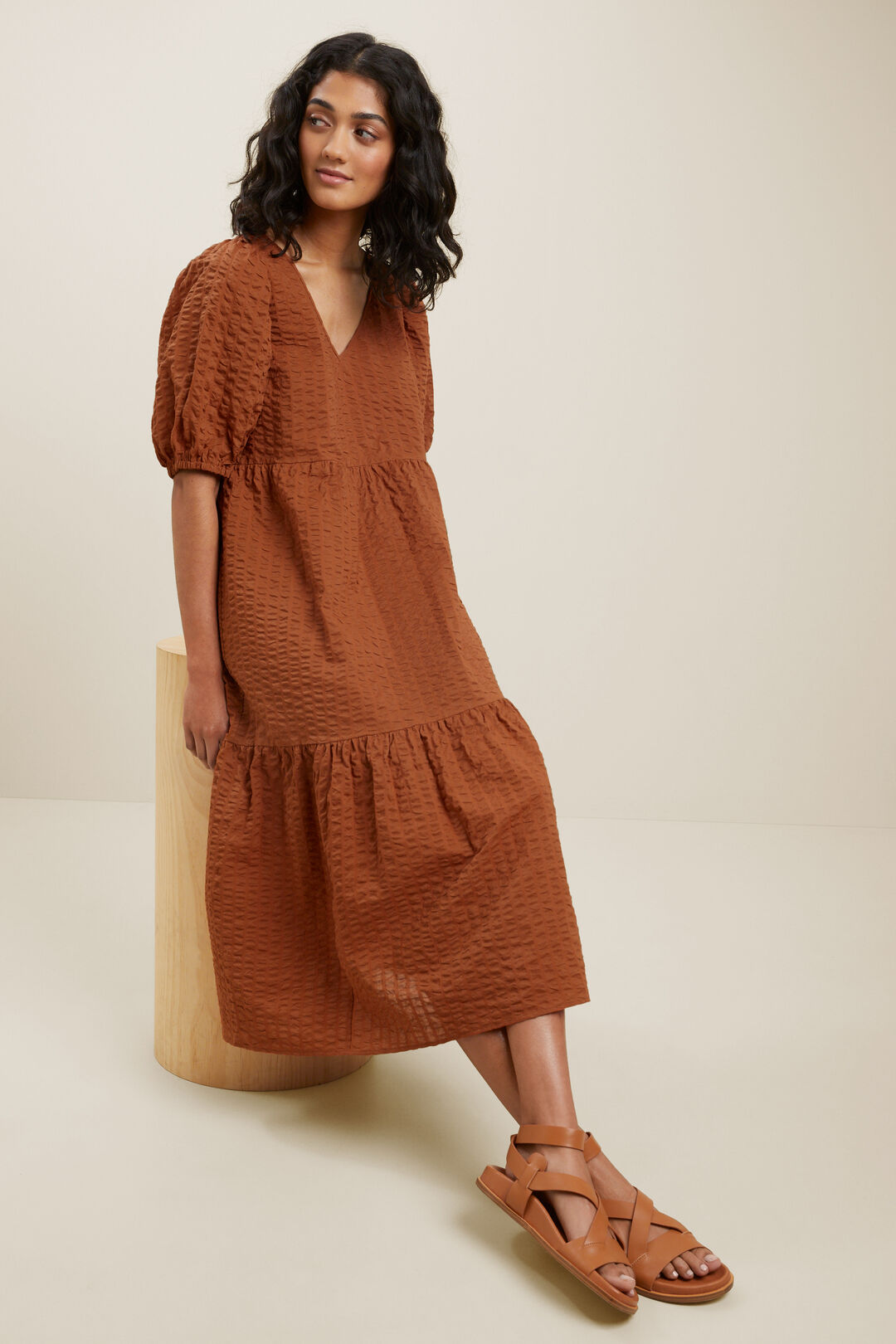 Textured Tiered Dress  EARTH RED  hi-res
