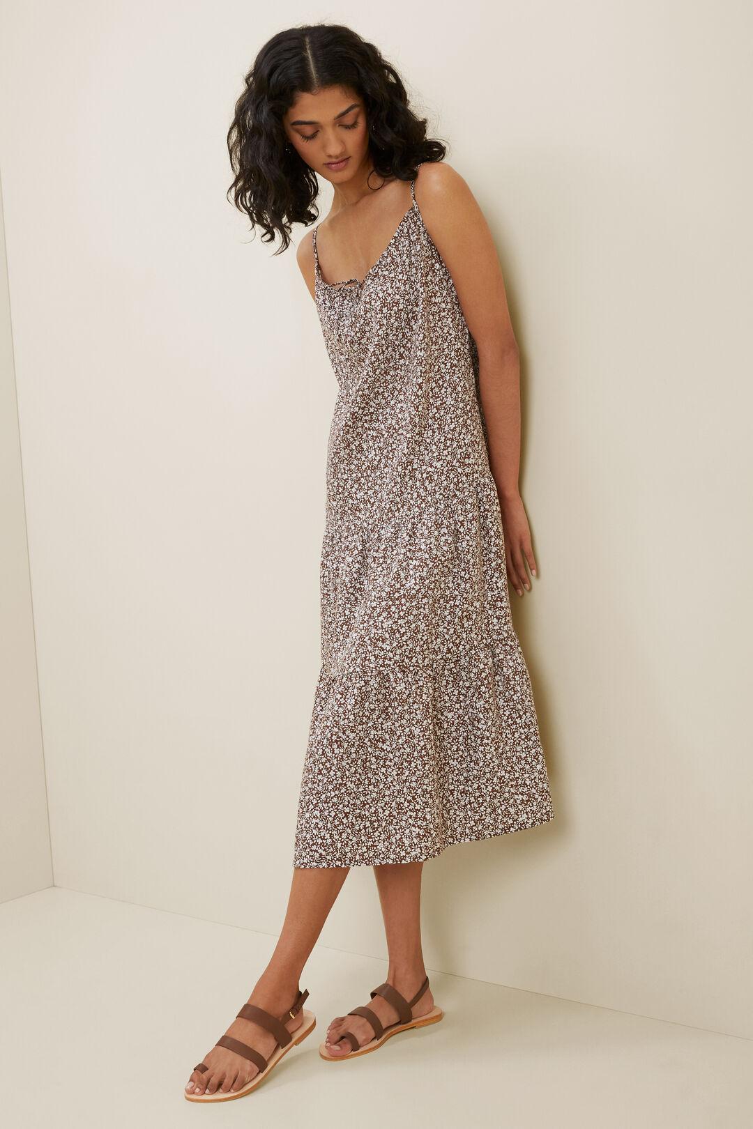 Linen Ditsy Midi Dress  RUSSET BROWN DITSY  hi-res