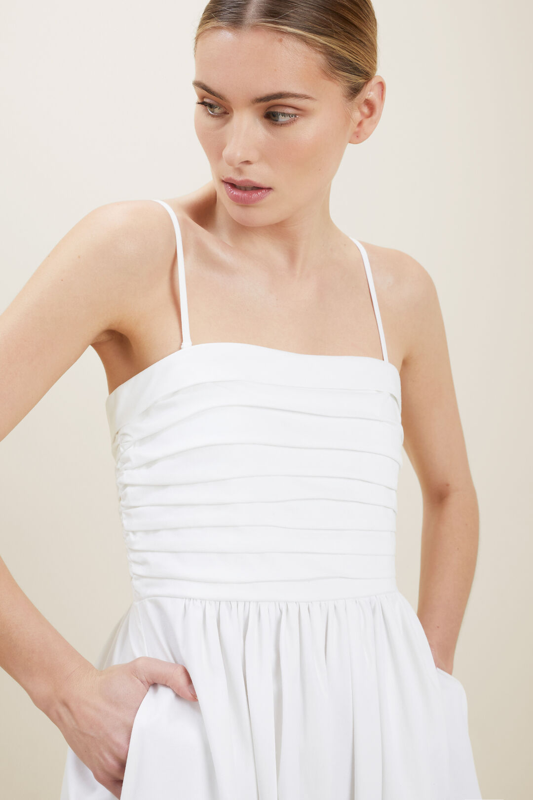 Sustainable Pleat Dress  WHISPER WHITE  hi-res