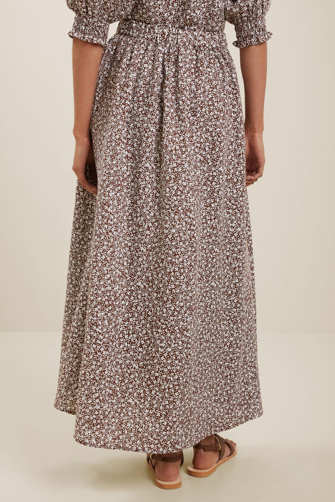 Linen Ditsy Maxi Skirt  RUSSET BROWN DITSY  hi-res