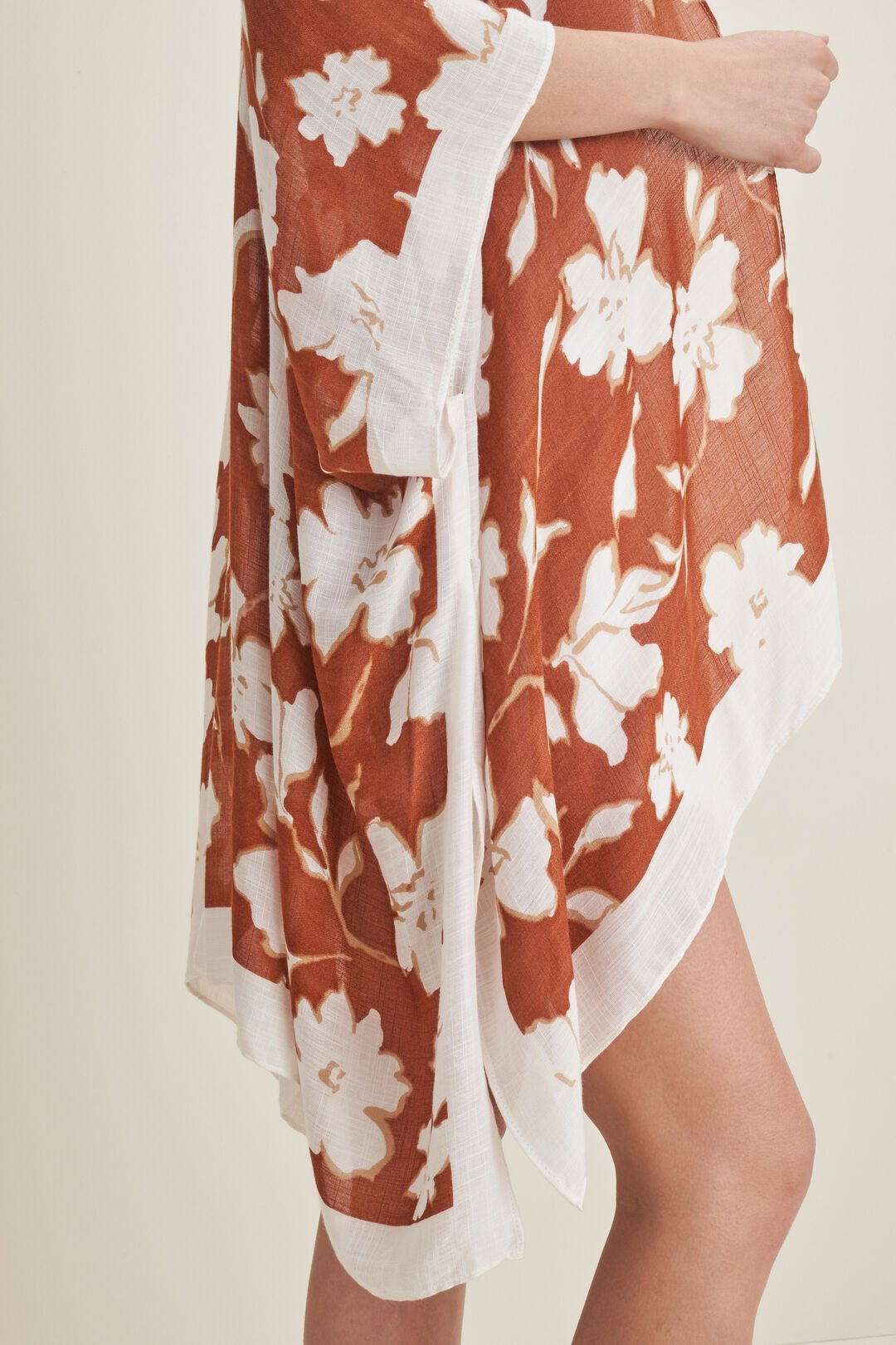 Floral Print Poncho  EARTH RED MULTI  hi-res