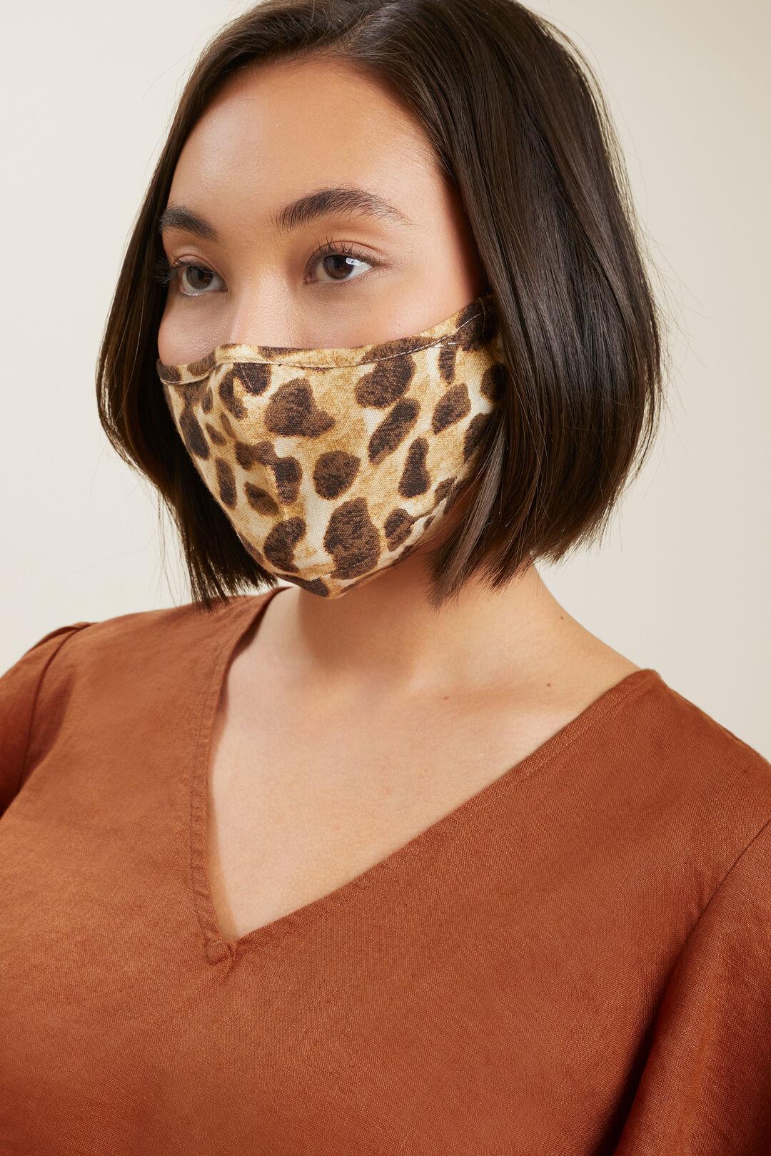 Linen Blend Adjustable Face Mask  LEOPARD  hi-res