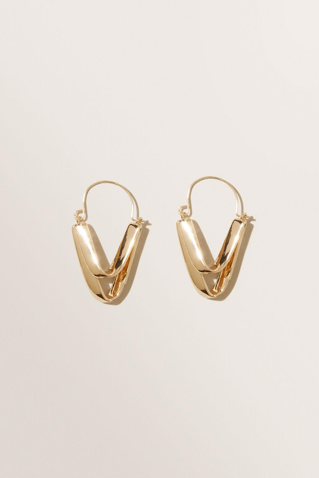 V Pendant Earrings  GOLD  hi-res