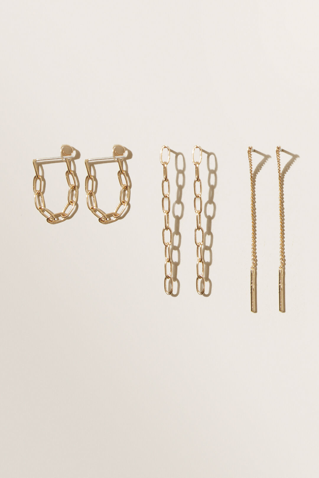 Paper Clip Chain Earring Pack  GOLD  hi-res