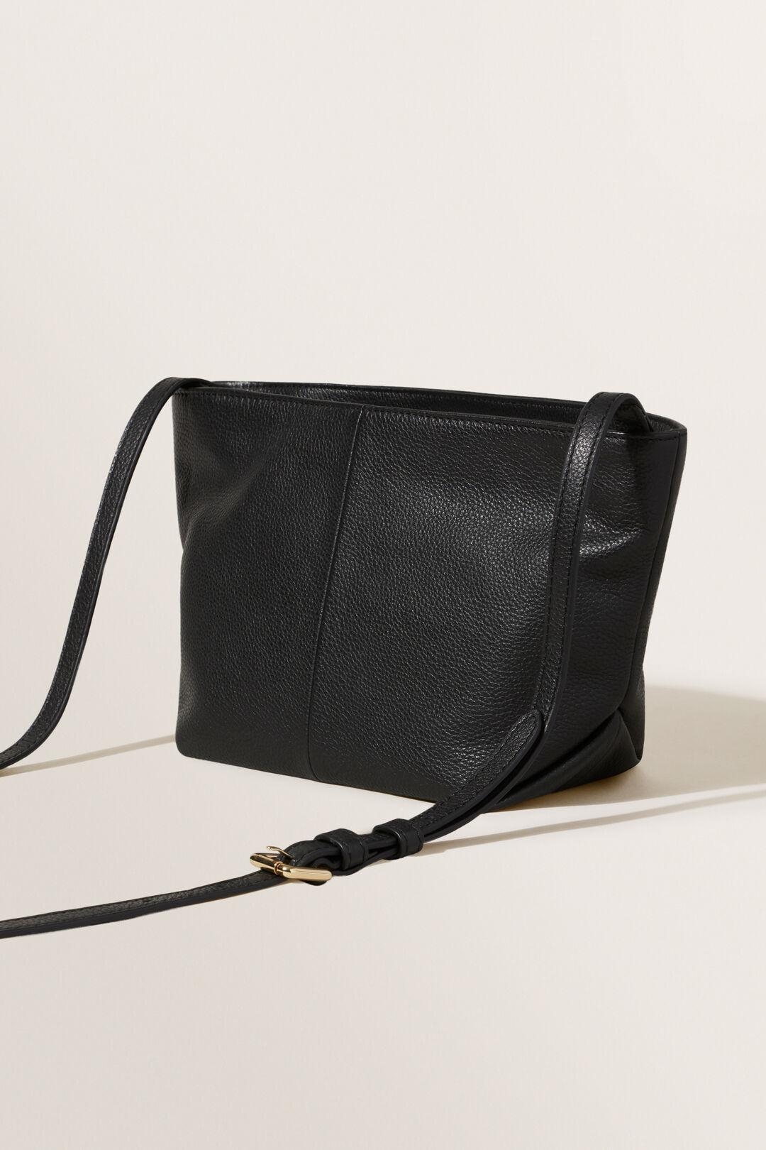Leather Fold Detail Sling  BLACK  hi-res