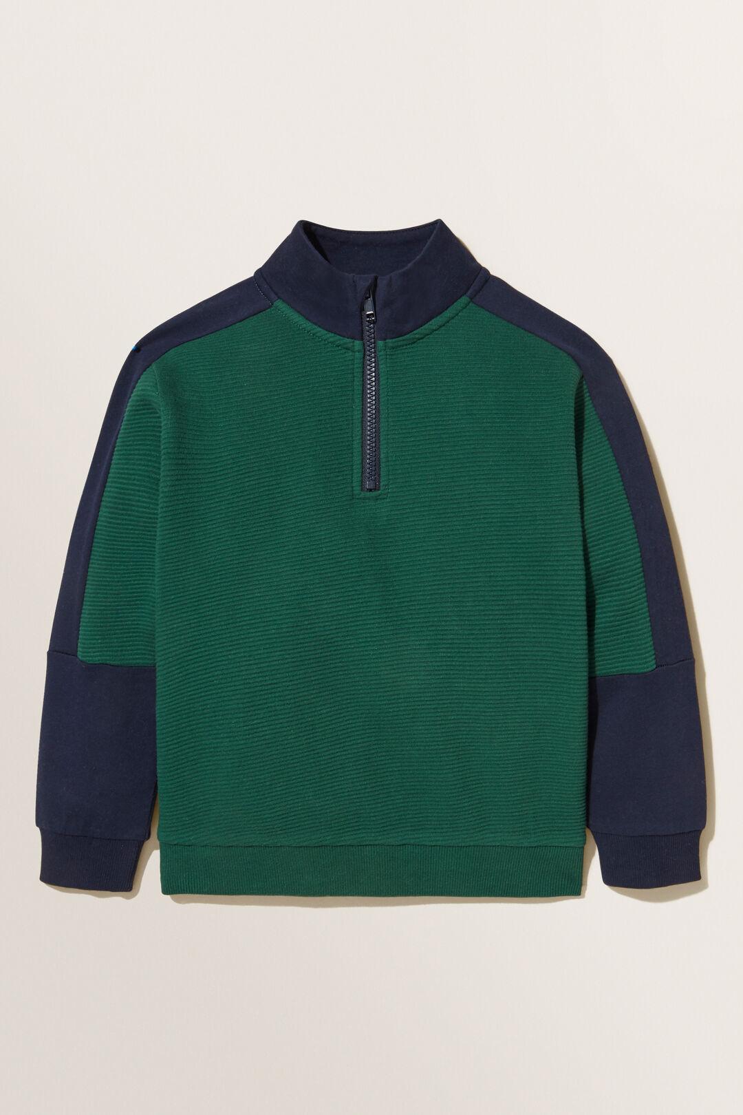 Panelled  Zip Sweater  BOTTLE GREEN  hi-res