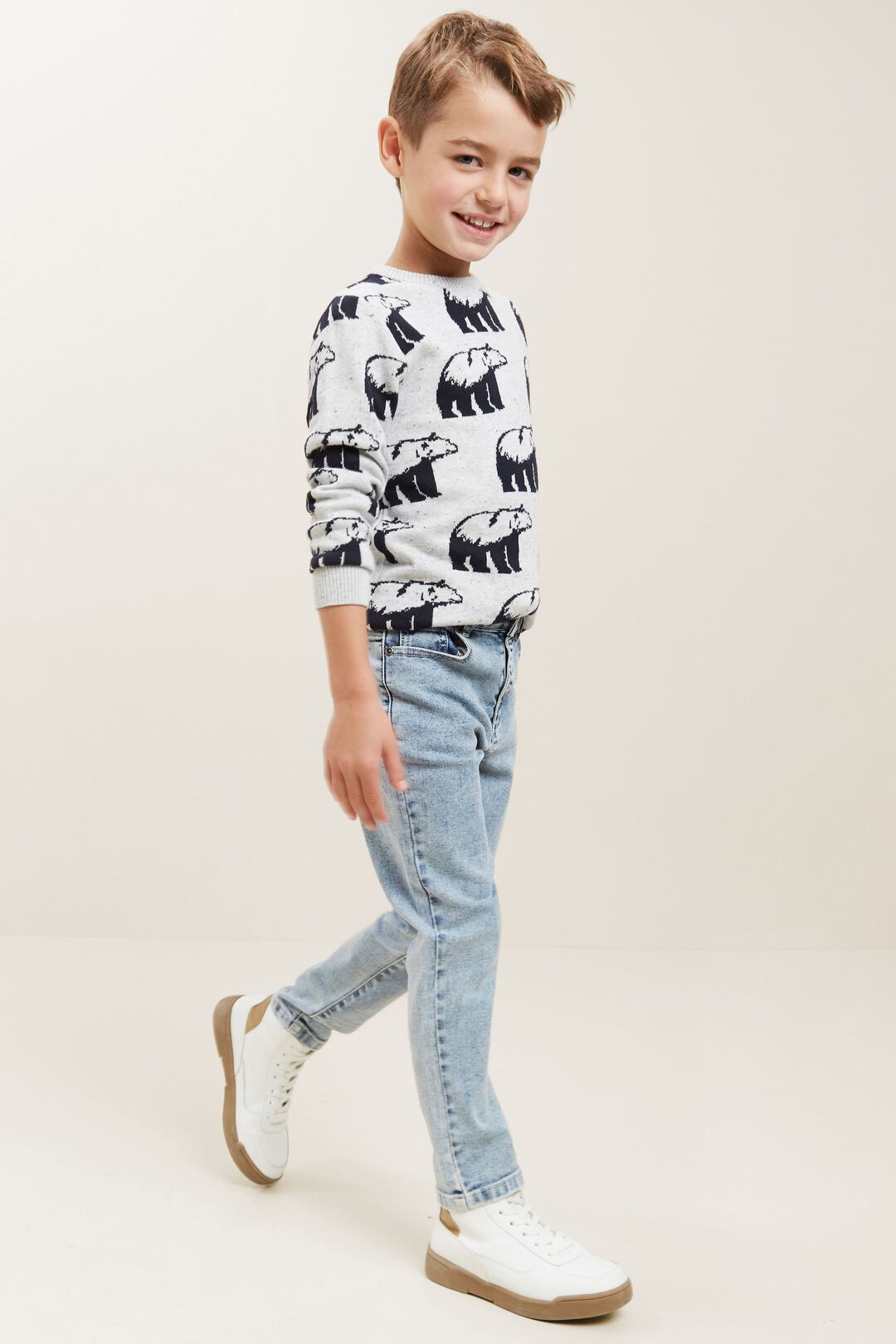 Jacquard Knitted Sweater  CLOUDY MARLE  hi-res