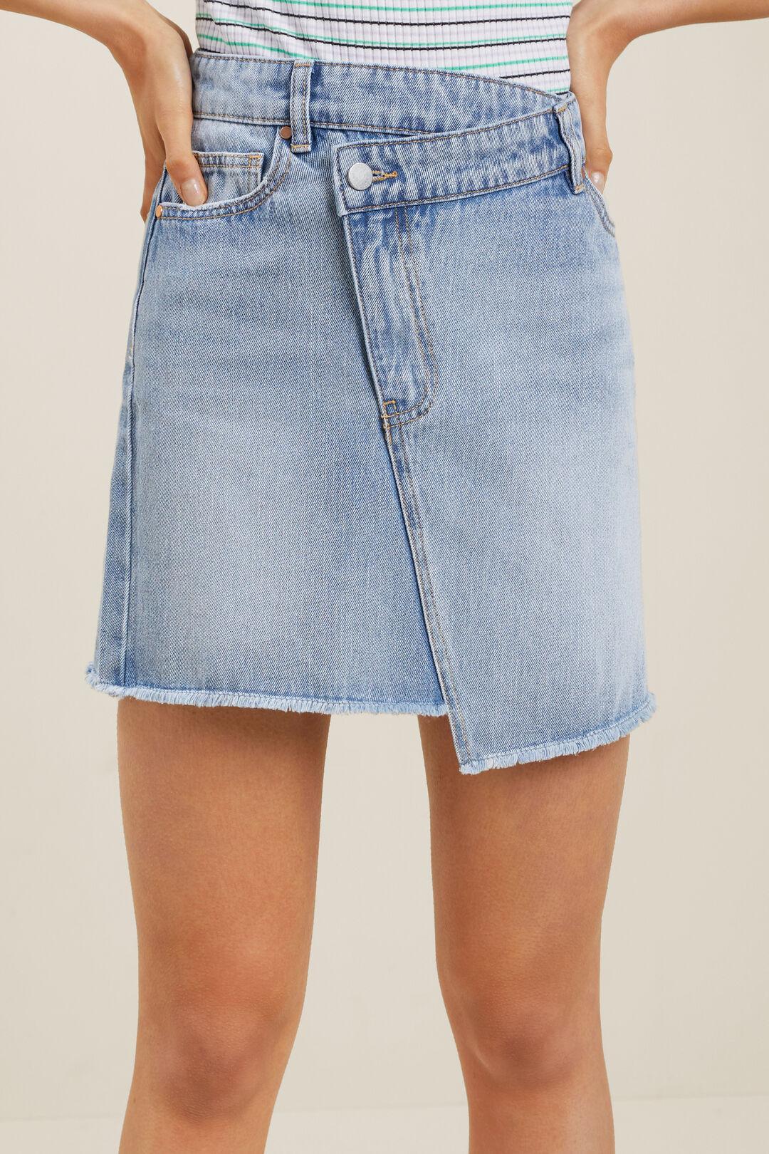 Asymmetric Denim Skirt  LIGHT WASH  hi-res
