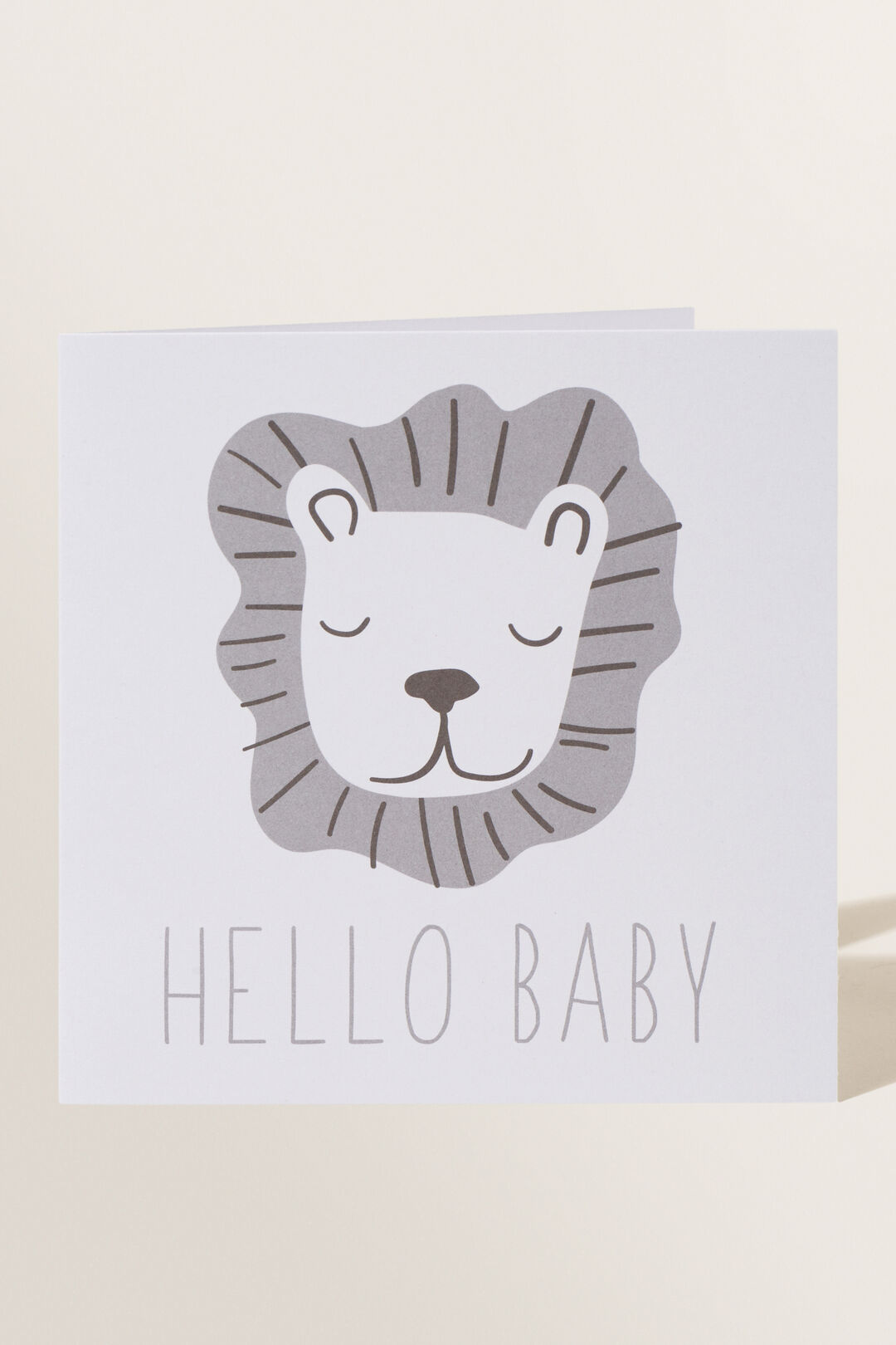 Large Lion Hello Baby Card  MULTI  hi-res
