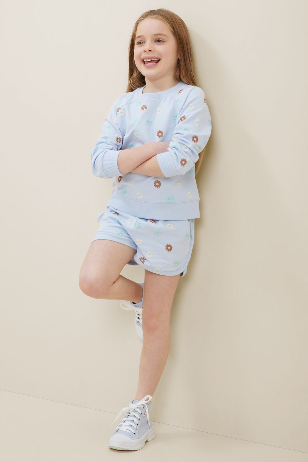Embroidered Floral Shorts  BABY BLUE  hi-res