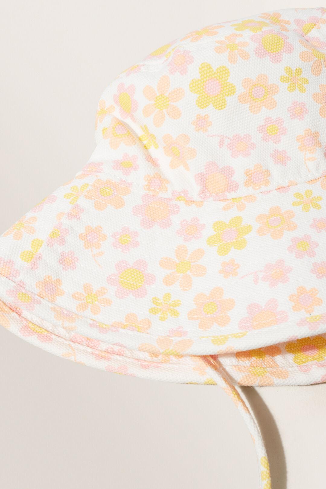 Retro Flower Canvas Hat  MULTI  hi-res