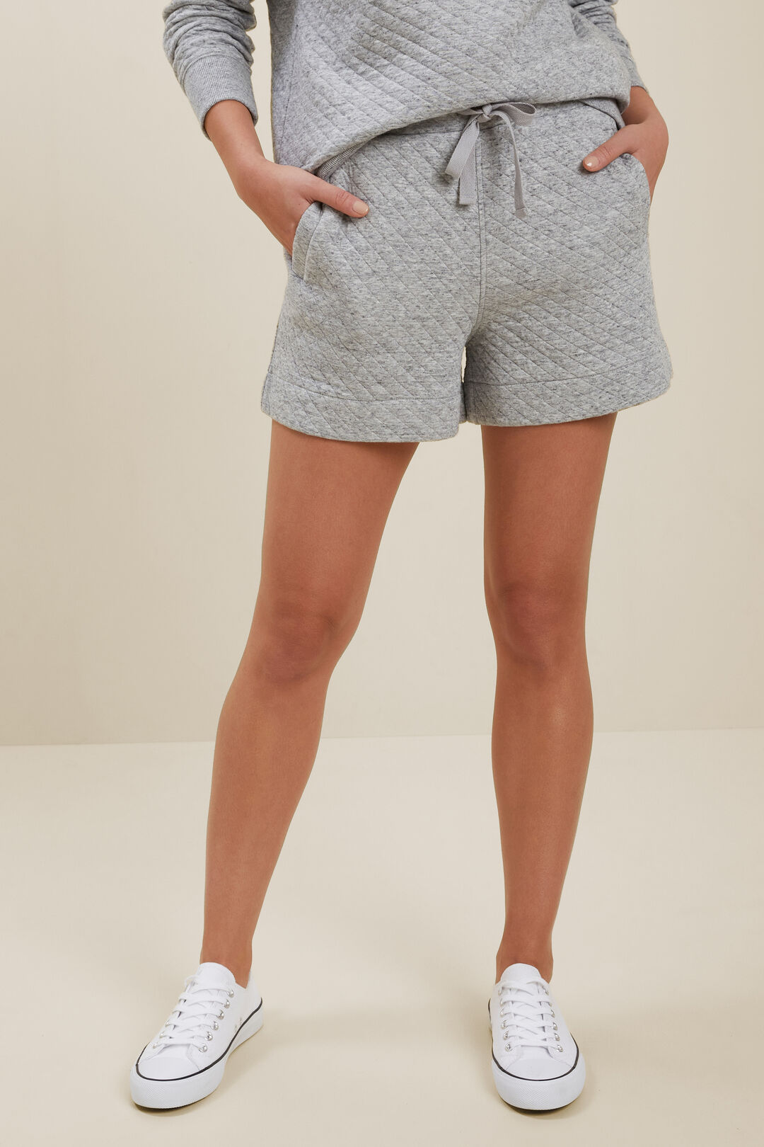 Diamond Quilted Shorts  STORMY GREY MARLE  hi-res