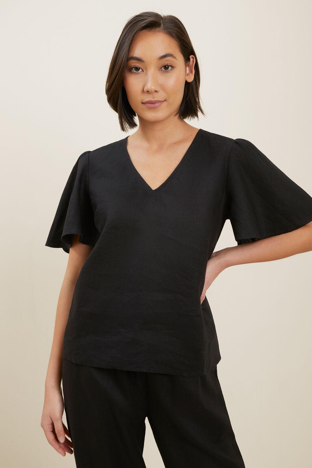 Linen Flutter Sleeve Top  BLACK  hi-res
