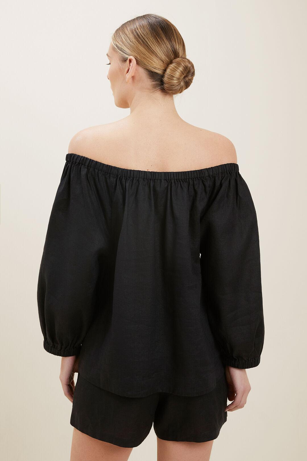 Linen Peasant Top  BLACK  hi-res