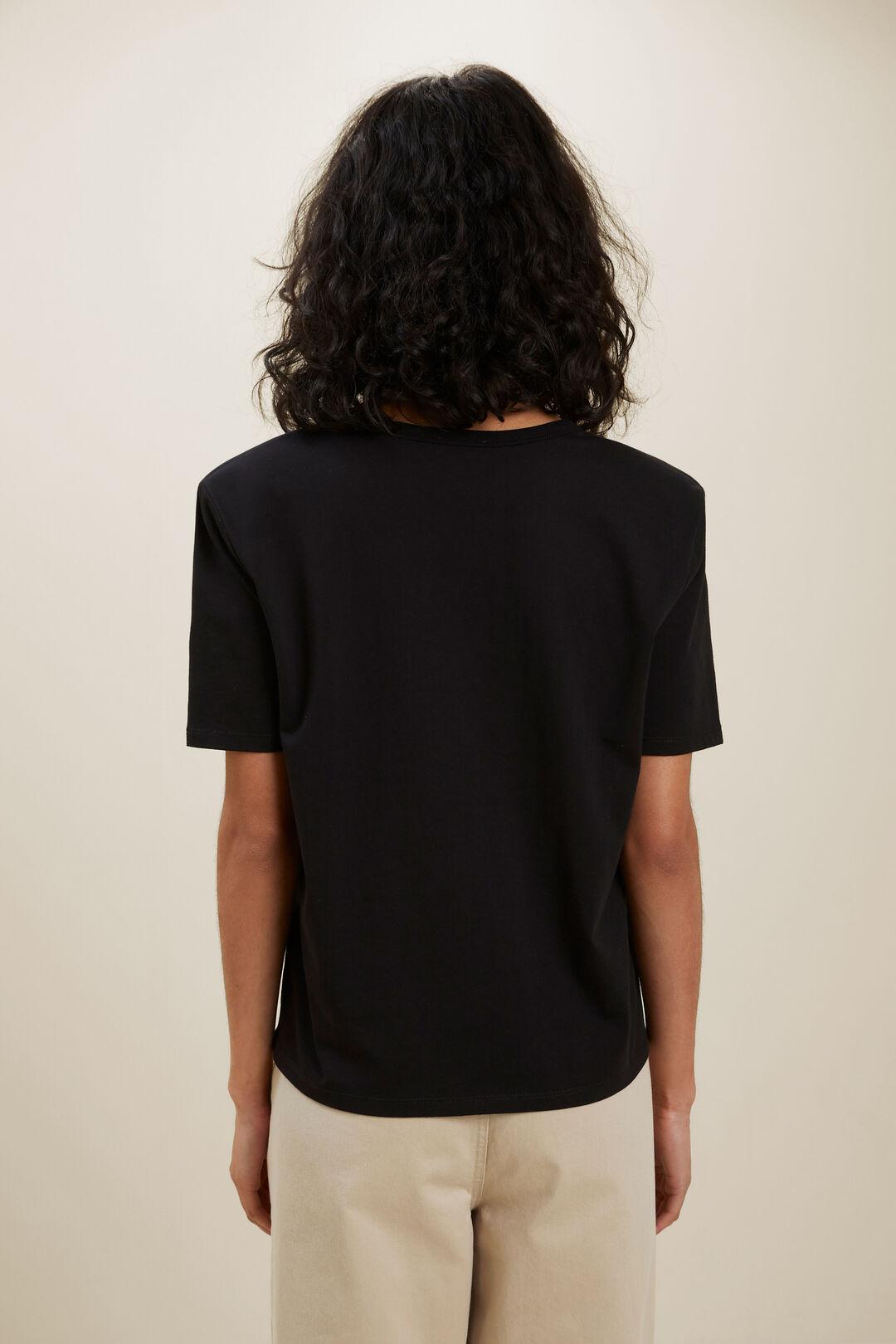 V Neck Shoulder Pad Tee  BLACK  hi-res