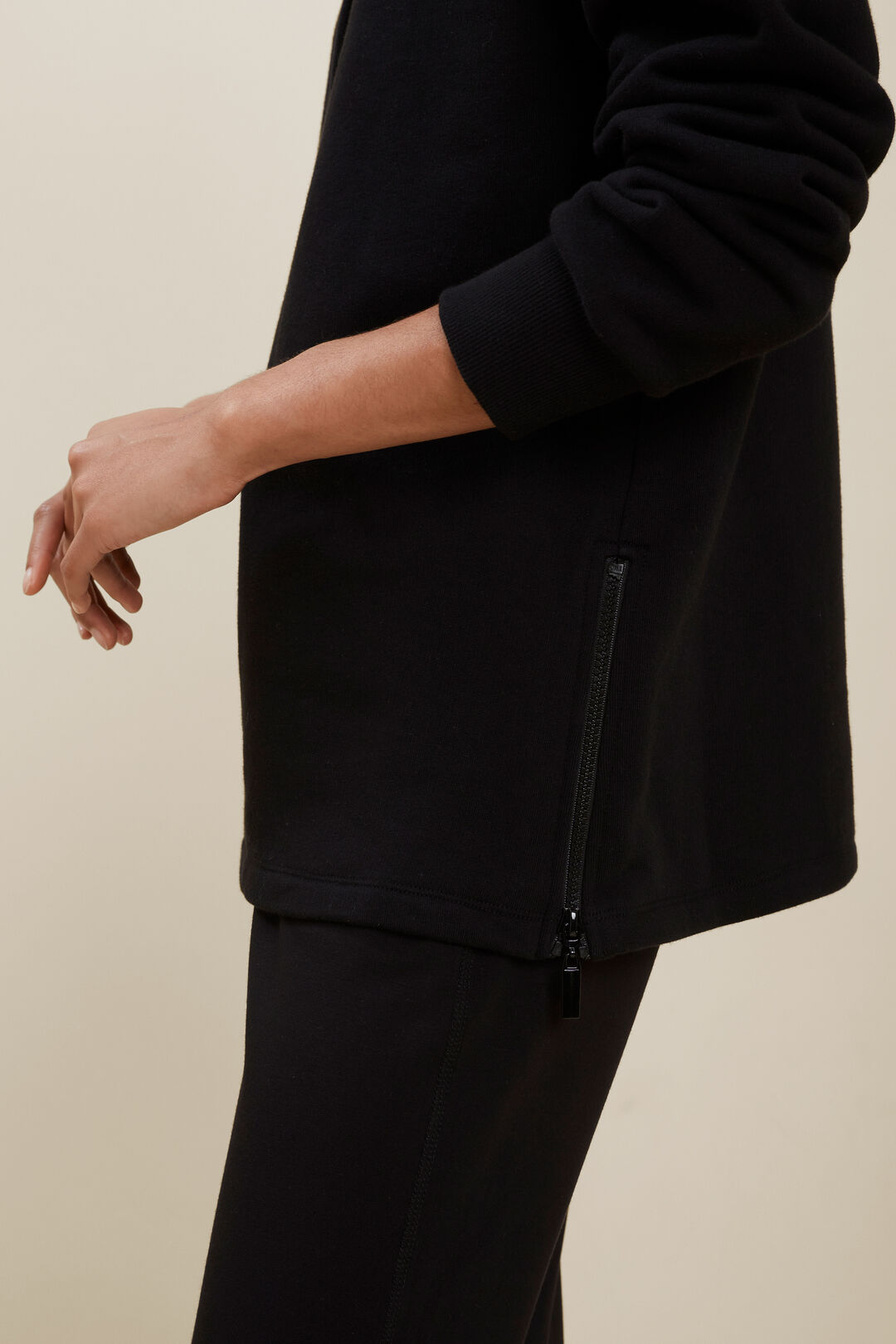 Terry Zip Sweater  BLACK  hi-res