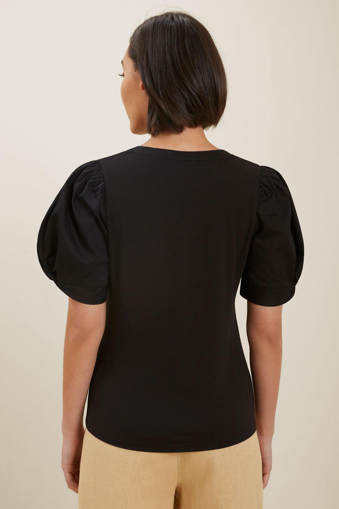 Poplin Sleeve Top  BLACK  hi-res