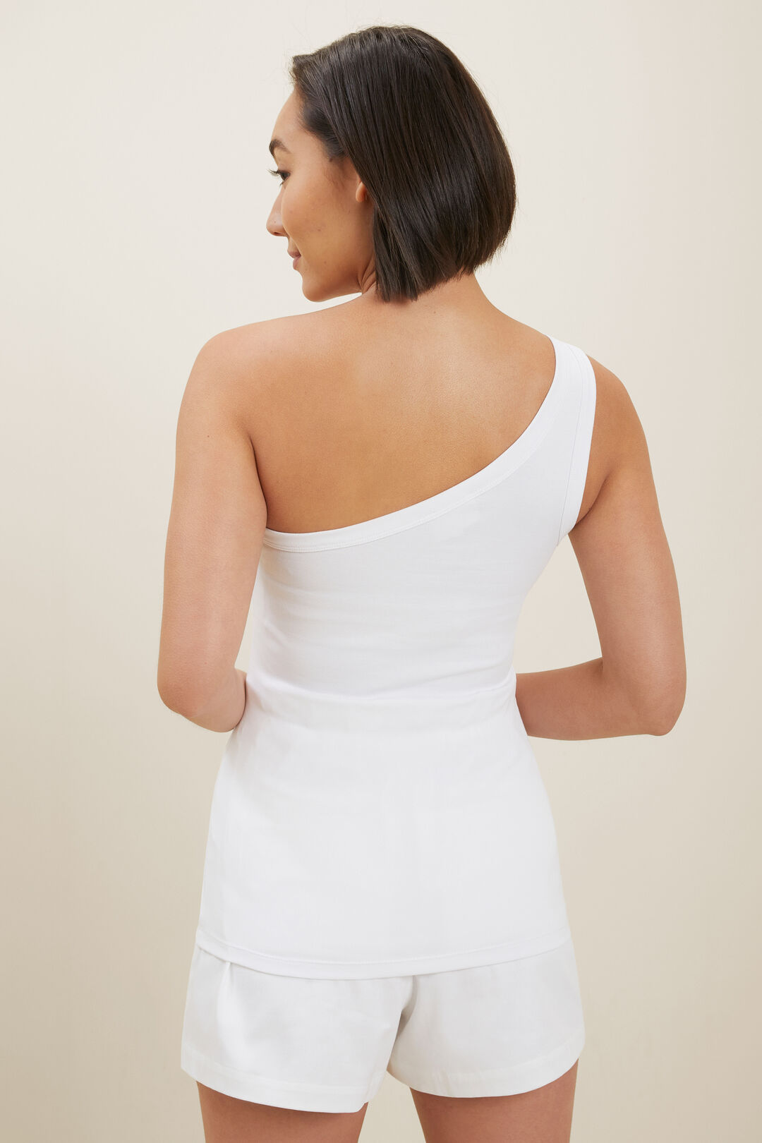 Sustainable One Shoulder Tank  WHISPER WHITE  hi-res