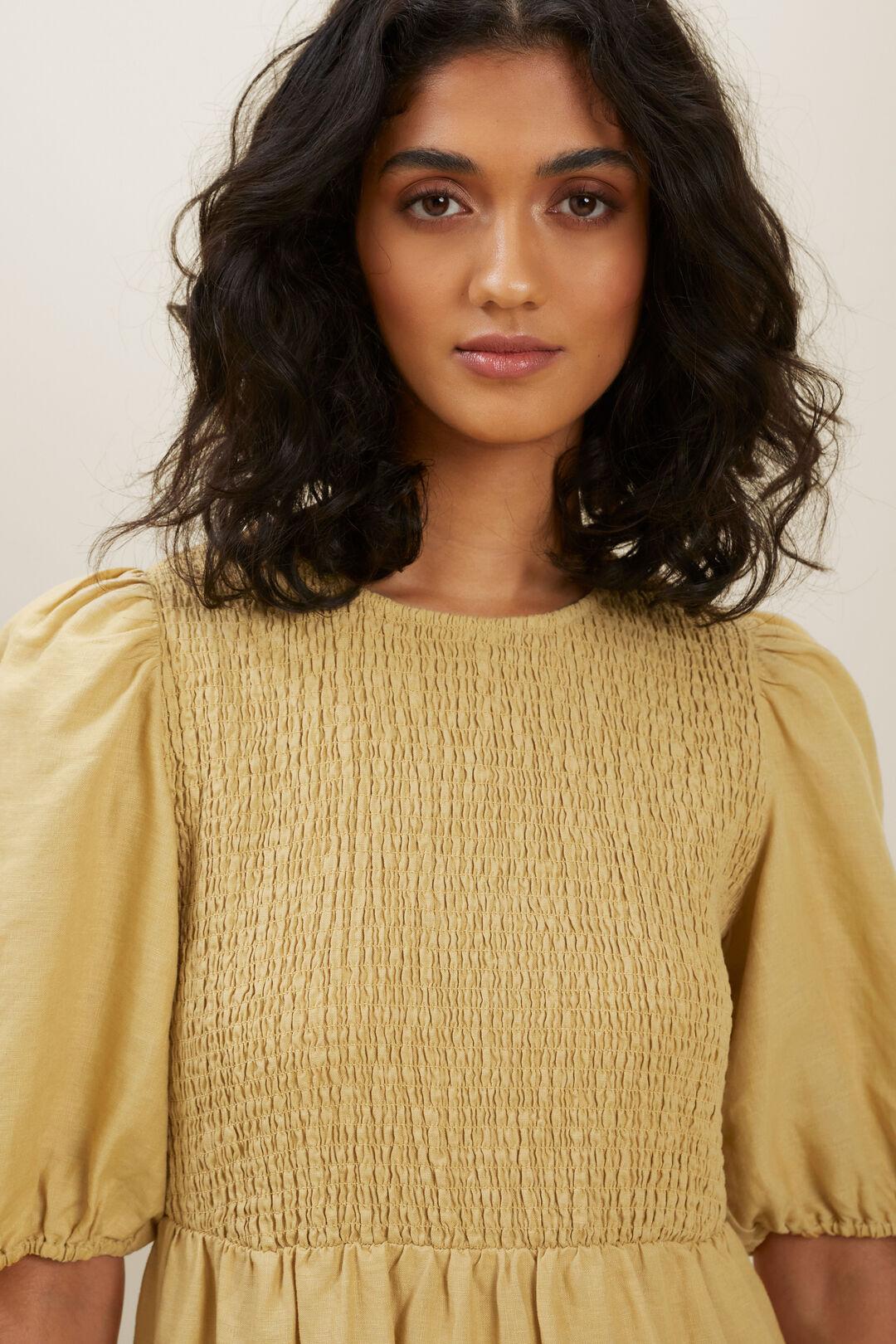 Linen Shirred Dress  FAWN  hi-res
