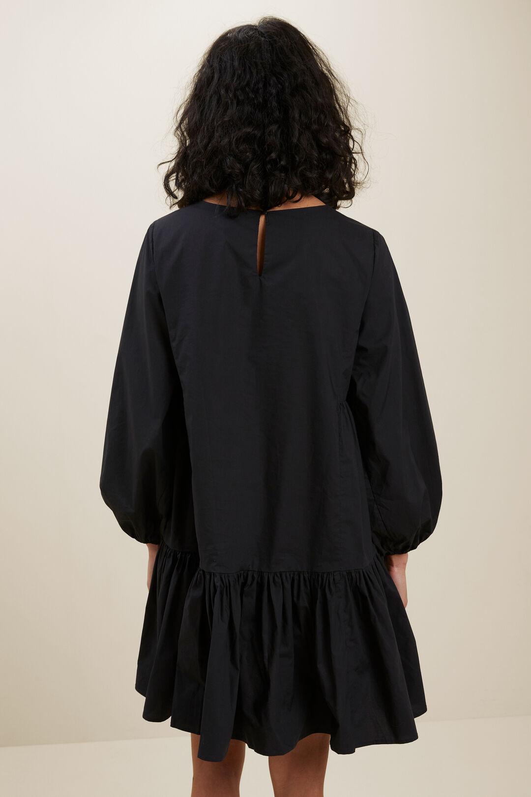 Poplin Frill Hem Dress  BLACK  hi-res