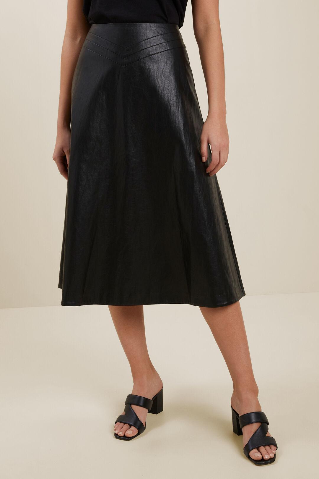 Vegan Leather Flared Midi Skirt  BLACK  hi-res