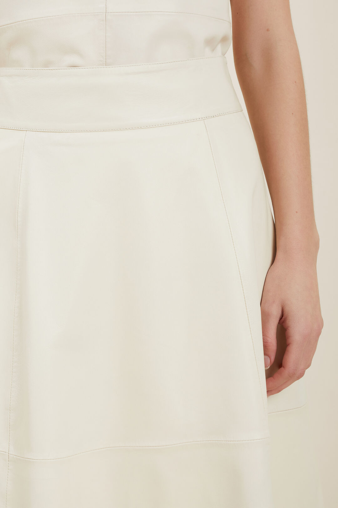 Fluted Leather Skirt  PEBBLE CREAM  hi-res