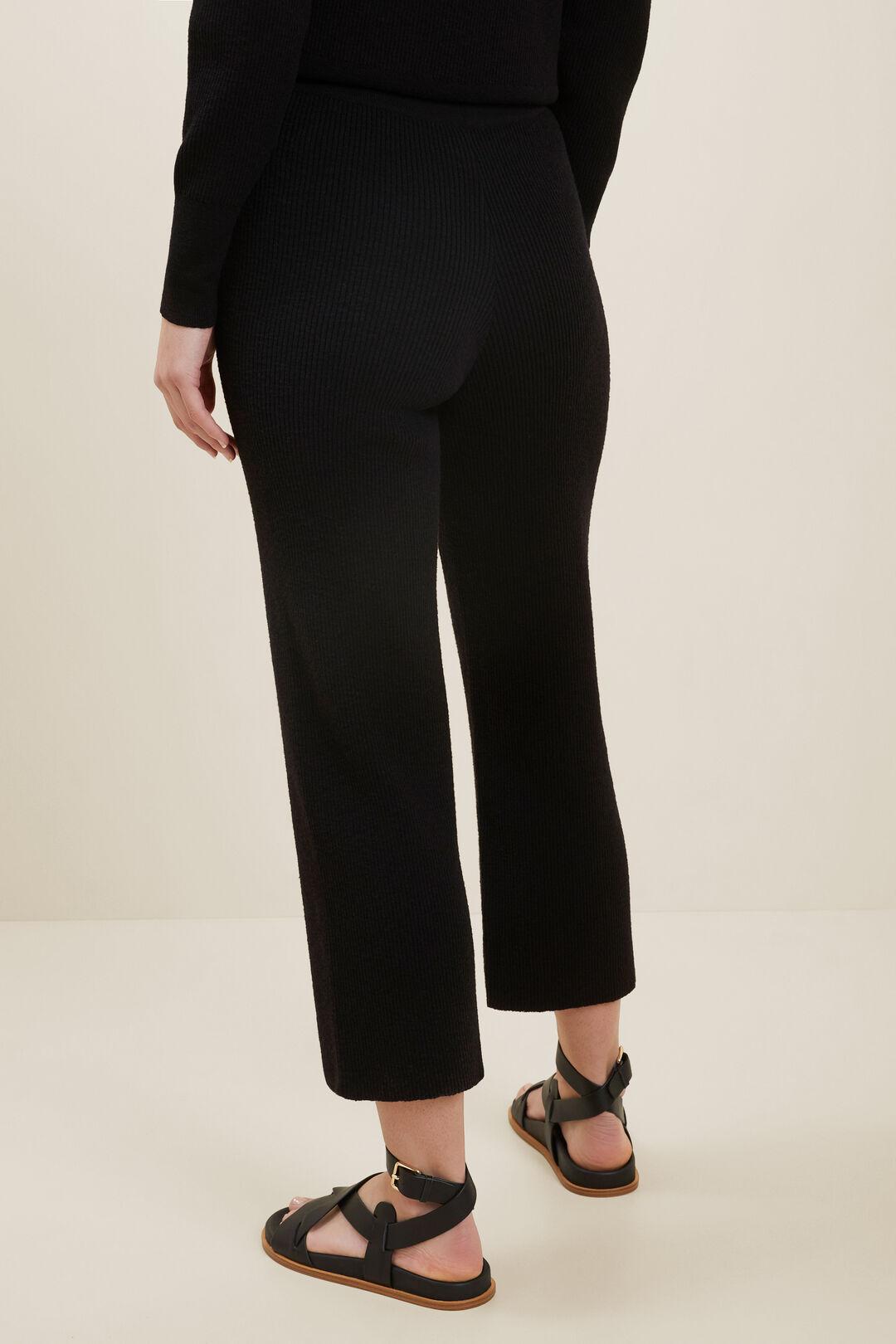 Boucle Knit Wide Leg Pants  BLACK  hi-res
