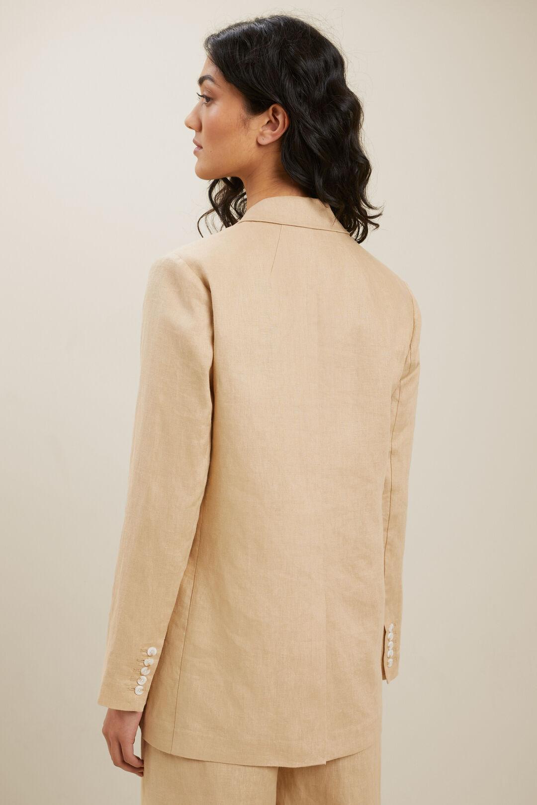 Linen Longline Blazer  NEUTRAL SAND  hi-res