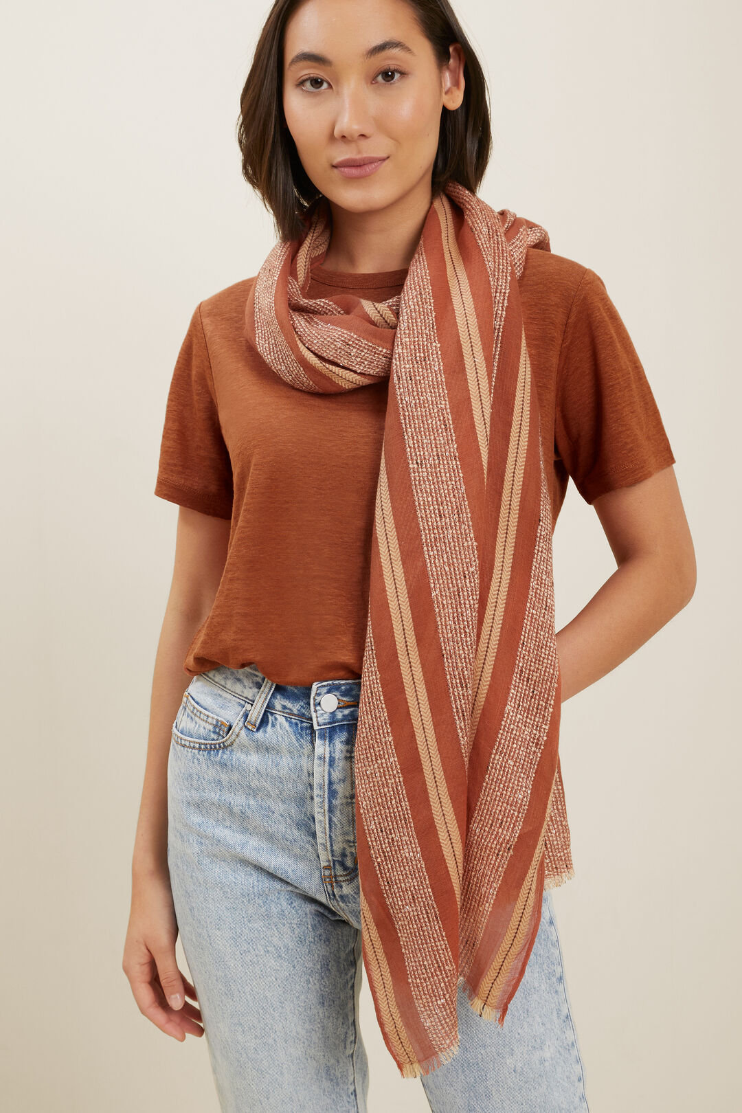 Textured Weave Scarf  EARTH RED MULTI  hi-res
