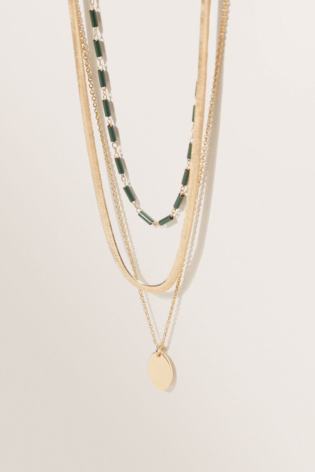 Beaded Pendant Necklace  GOLD BASIL  hi-res