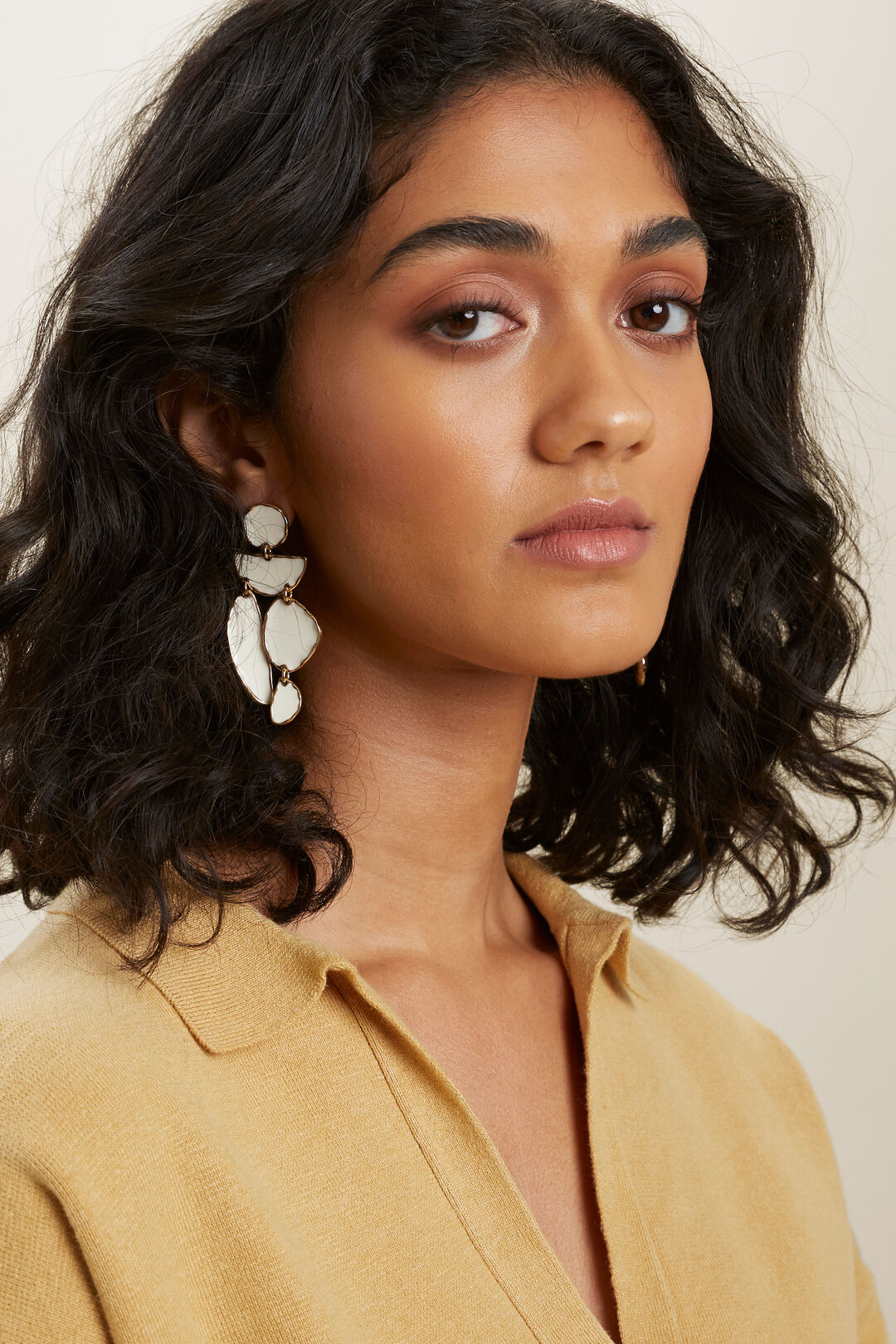 Enamelled Hanging Earrings  GOLD FRENCH VANILLA  hi-res