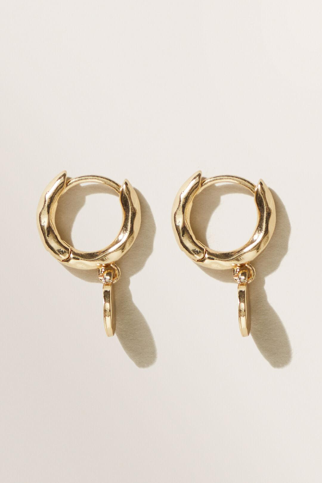 Drop Disc Huggie Earrings  GOLD  hi-res