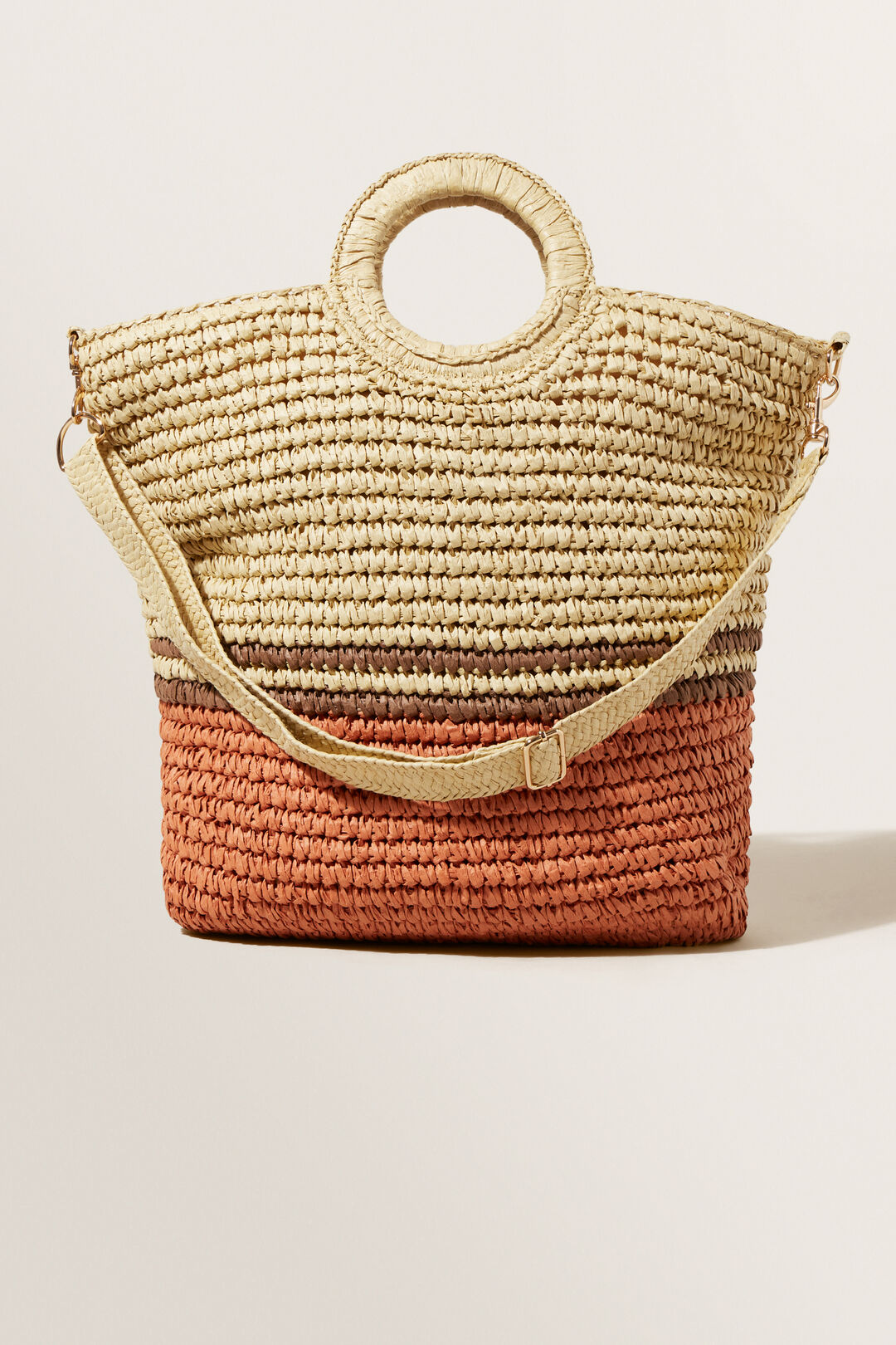 Striped Straw Tote Bag  NEUTRAL SAND MULTI  hi-res