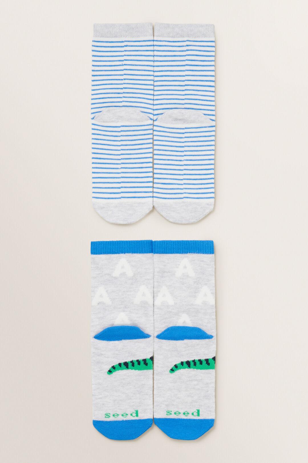 Dinosaur Initial Sock 2 Pack  A  hi-res