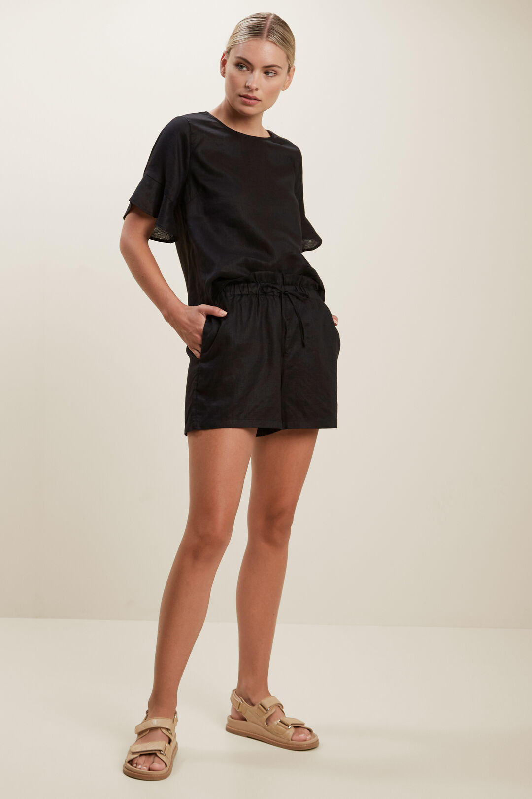 Flutter Sleeve Linen Top  BLACK  hi-res