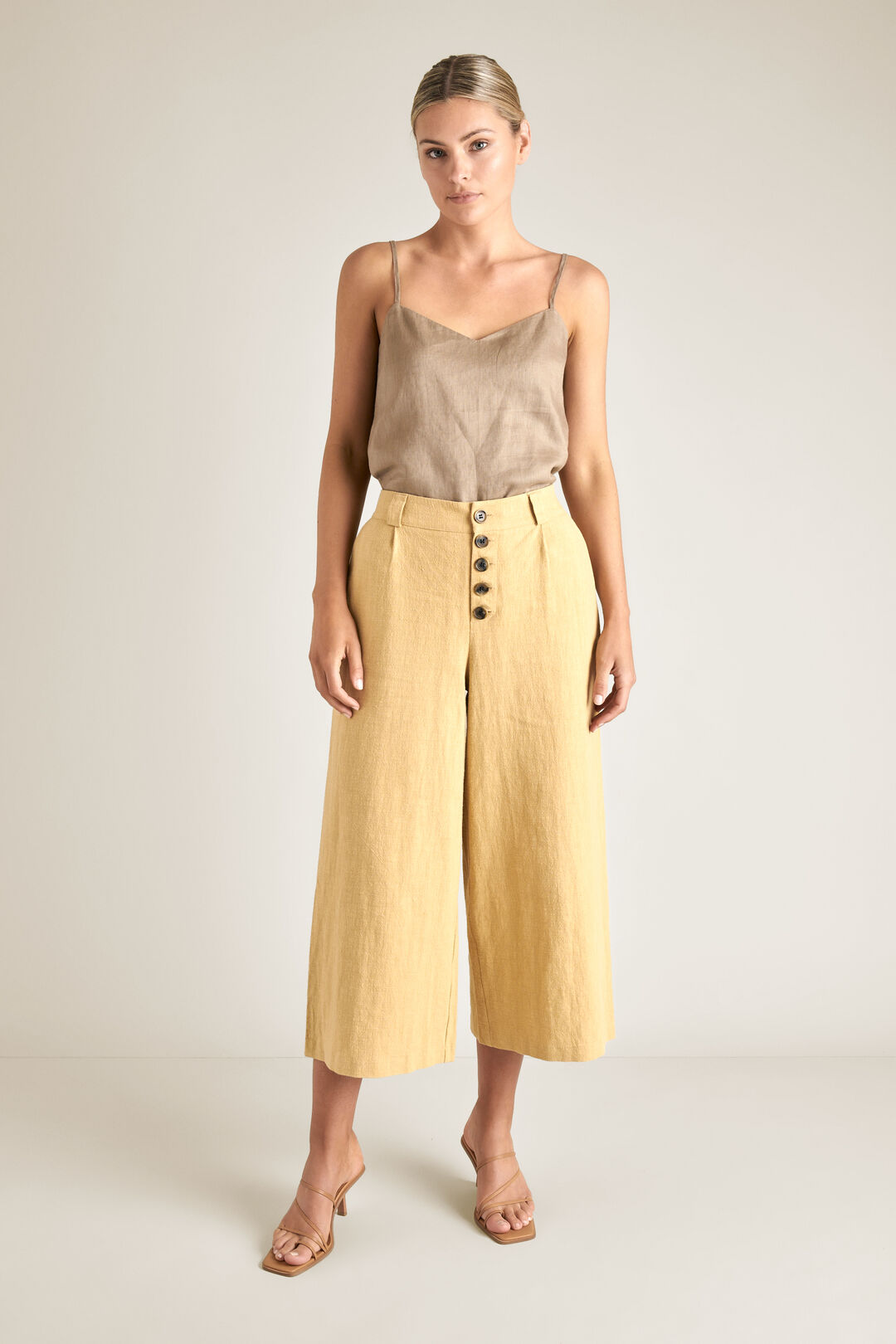 Button Fly Crop Pant  FAWN  hi-res