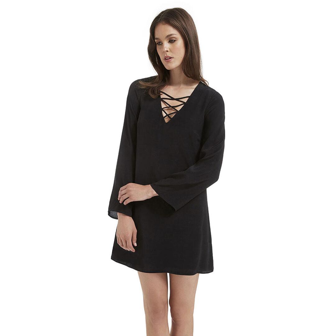 Tie Up Dress  BLACK  hi-res