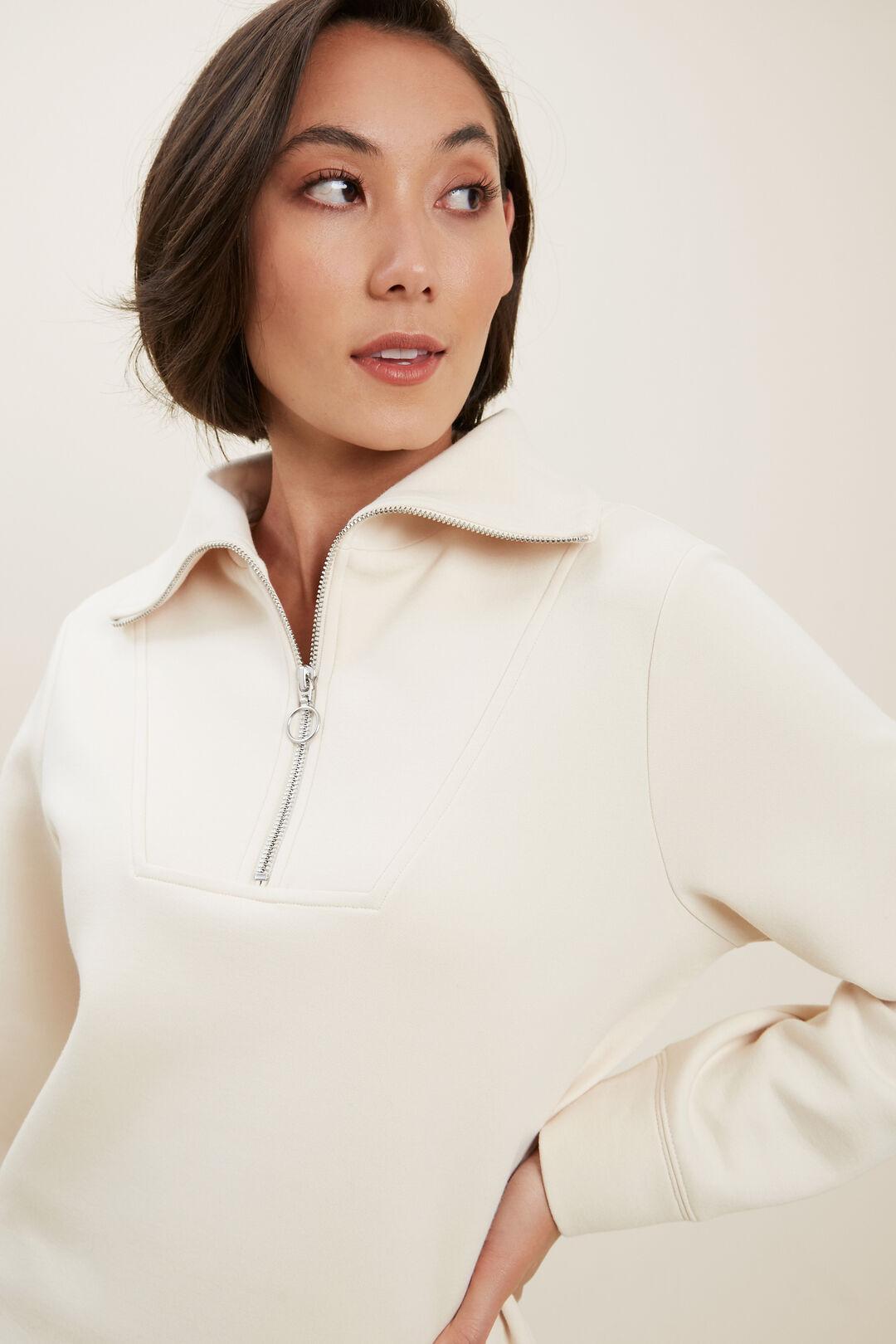 Funnel Neck Sweater  PEBBLE CREAM  hi-res