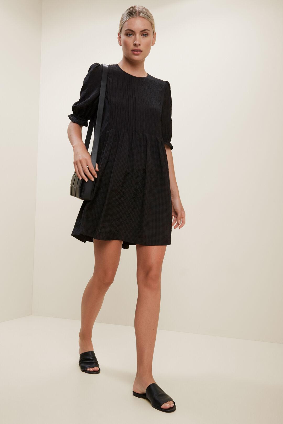 Check Pleat Mini Dress  BLACK  hi-res
