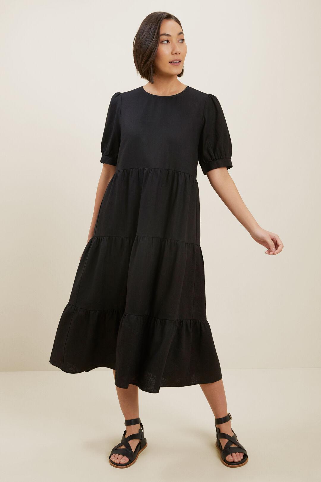 Linen Tiered Midi Dress  BLACK  hi-res