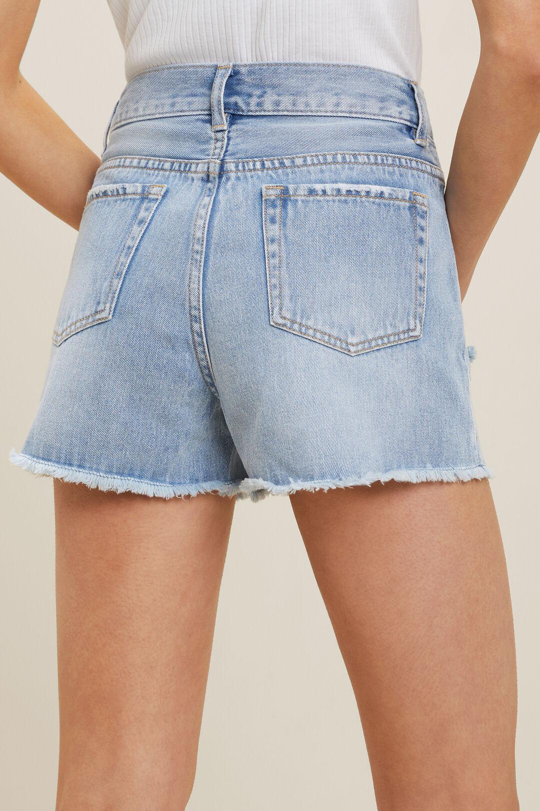 Cut Off Denim Shorts  LIGHT WASH  hi-res