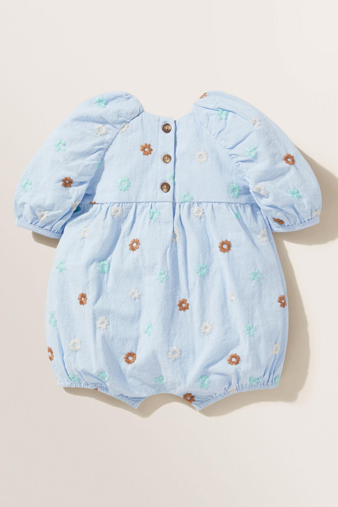 Embroidered Floral Romper  BABY BLUE  hi-res
