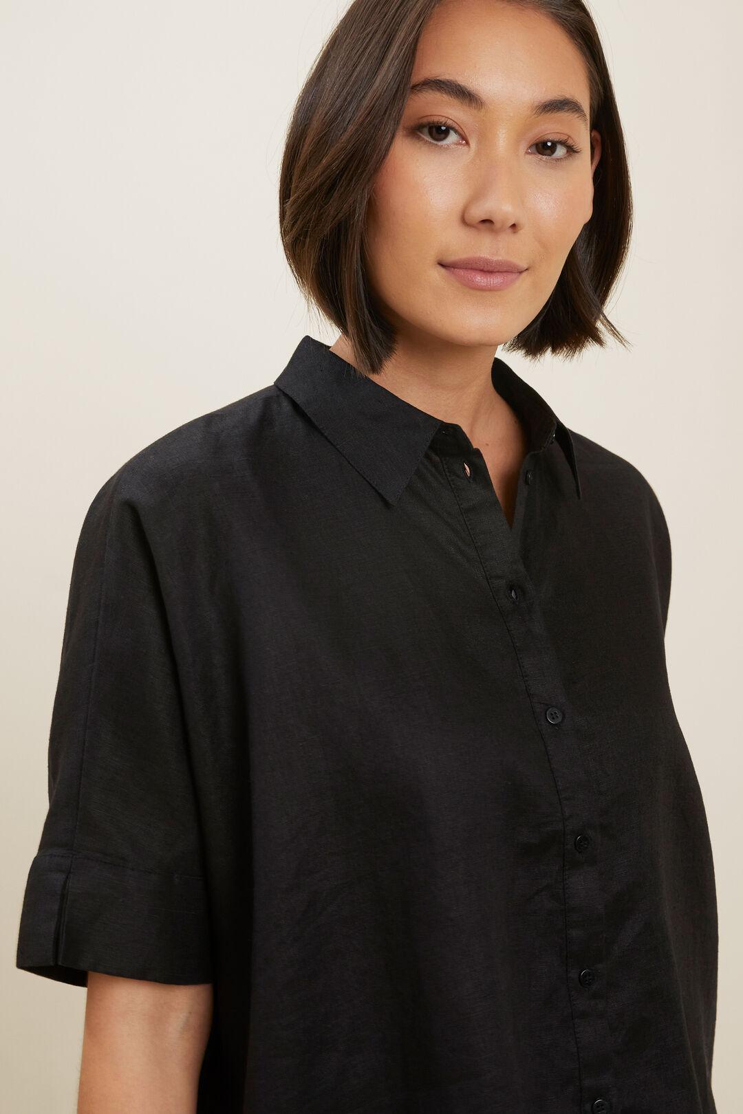 Linen Button-Down Shirt  BLACK  hi-res