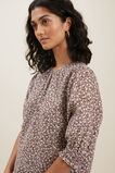 Ditsy Puff Sleeve Top  RUSSET BROWN DITSY  hi-res
